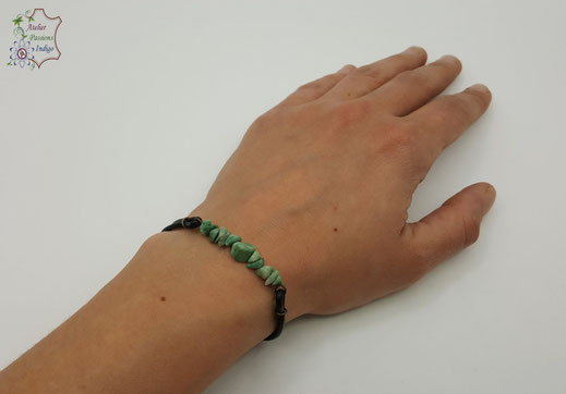 Création artisanale atelier passions indigo bracelet PIERROT Jade Verte cuir bijou colorée
