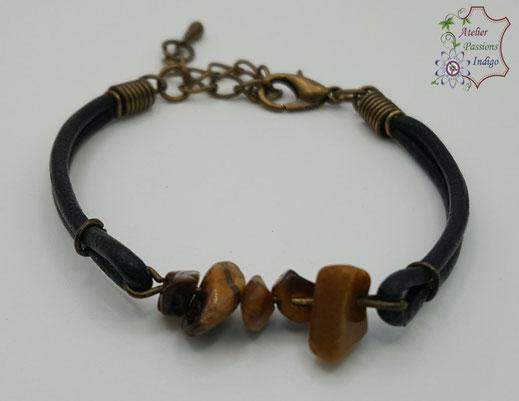 Création artisanale atelier passions indigo bracelet PIERROT Œil de Tigre cuir bijou colorée