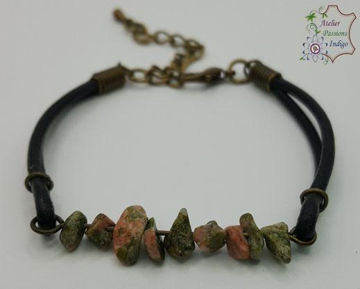 Création artisanale atelier passions indigo bracelet PIERROT Unakite cuir bijou colorée