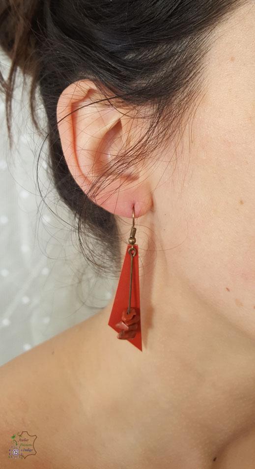 Création artisanale atelier passions indigo boucles d'oreilles cuir bijou colorée