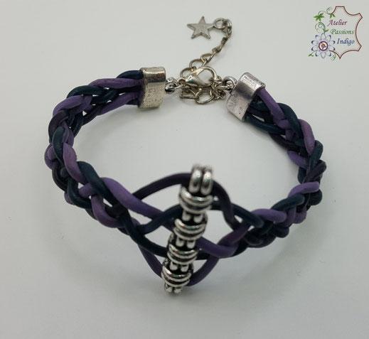 Création artisanale atelier passions indigo bracelet ARLEQUIN femme cuir bijou colorée