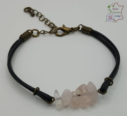 Création artisanale atelier passions indigo bracelet PIERROT Quartz Rose cuir bijou colorée