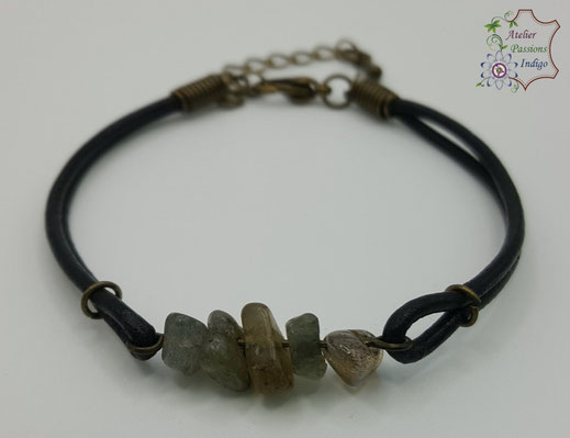 Création artisanale atelier passions indigo bracelet PIERROT Labradorite  cuir bijou colorée
