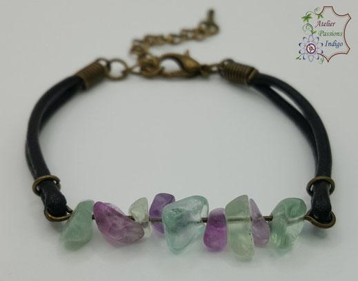 Création artisanale atelier passions indigo bracelet PIERROT Fluorite cuir bijou colorée
