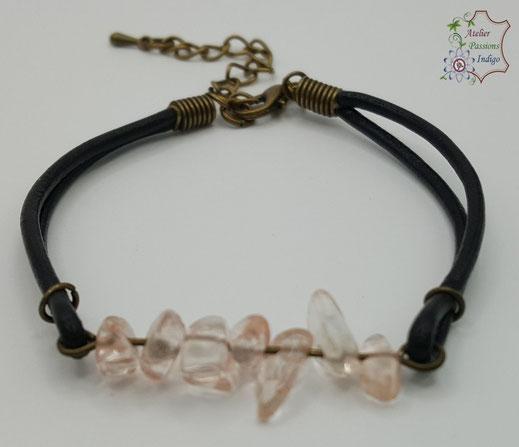 Création artisanale atelier passions indigo bracelet PIERROT Quartz Cerise cuir bijou colorée