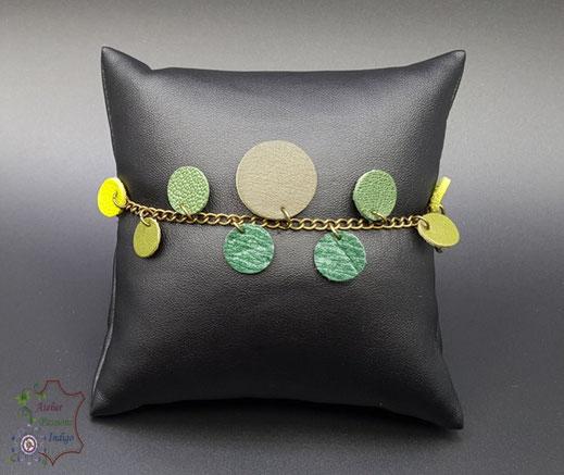Création artisanale atelier passions indigo bracelet CONFETTIS femme cuir bijou colorée