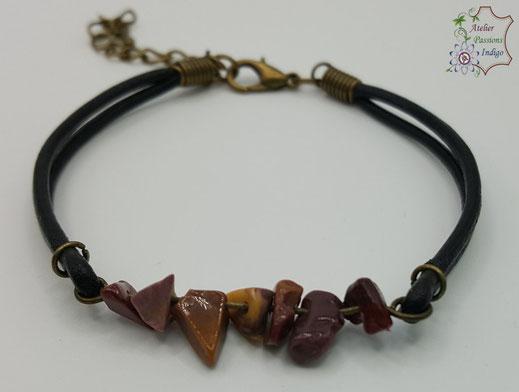 Création artisanale atelier passions indigo bracelet PIERROT Mokaïte  cuir bijou colorée