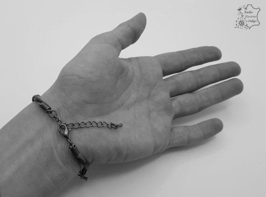 Création artisanale atelier passions indigo bracelet femme cuir bijou colorée