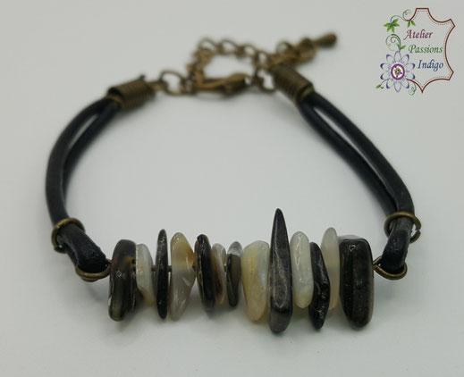 Création artisanale atelier passions indigo bracelet PIERROT Nacre Grise cuir bijou colorée