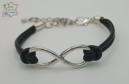 Création artisanale atelier passions indigo bracelet INFINI cuir bijou colorée