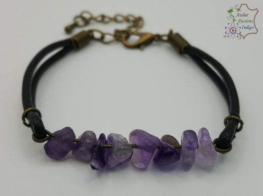 Création artisanale atelier passions indigo bracelet PIERROT Améthyste cuir bijou colorée