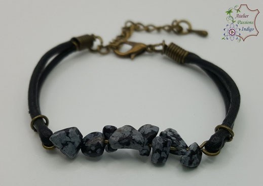 Création artisanale atelier passions indigo bracelet PIERROT Obsidienne Flocon de Neige cuir bijou colorée