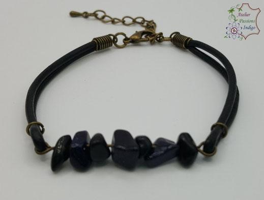 Création artisanale atelier passions indigo bracelet PIERROT Goldstone Bleu cuir bijou colorée