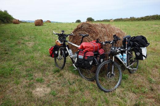 Baskenland, Feld mit Strohbällen