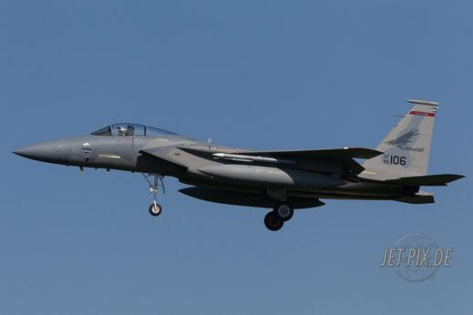 Amerikanische F15 beim Landeanflug in Leeuwarden