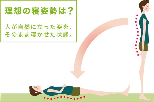 理想の寝姿勢は正常立位姿勢を仰向きに寝かせた状態