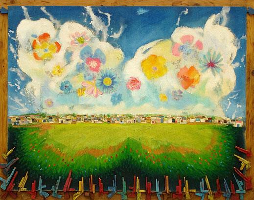 papillon, prairie, arme, fleurs, champs, campagne, peinture, tableau, Lesenfans, art contemporain