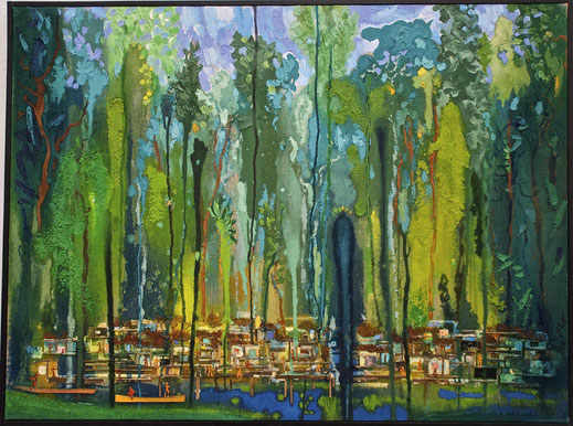 forêt, village, Amazonie, tropical, cabanes, cases, tribu, peinture, art contemporain, tableau, Lesenfans