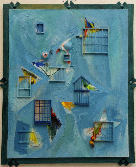 cageot, ciel, oiseau, perroquet, cage, bleu, peinture, tableau, oeuvre, Lesenfans
