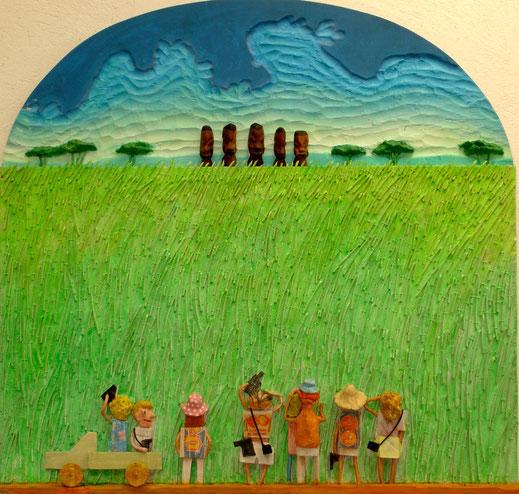savane, touristes, afriques, masque africain, prairie, herbe, tableau, peinture, art, Lesenfans