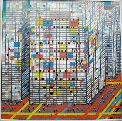 Mondrian, immeuble, peinture, art contemporain, building, Lesenfans, tableau