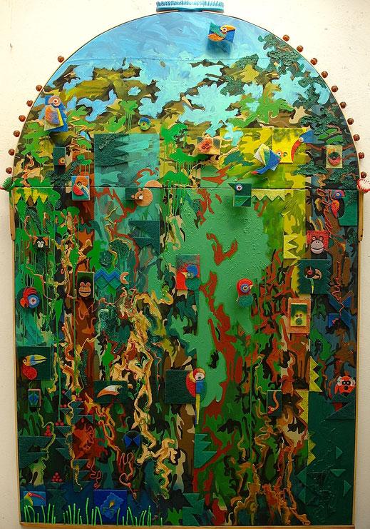 forêt, perroquet, oiseau, singe, animaux, nature, sauvage, Amazonie, tropical, peinture, tableau, Lesenfans, art contemporain
