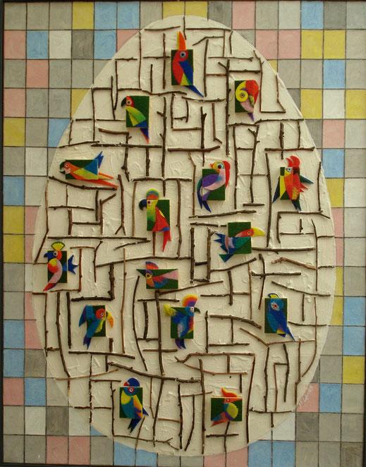 perroquet, arbre, oeuf, bâton, bois, carreau, Mondrian, peinture, tableau, art contemporain, Lesenfans