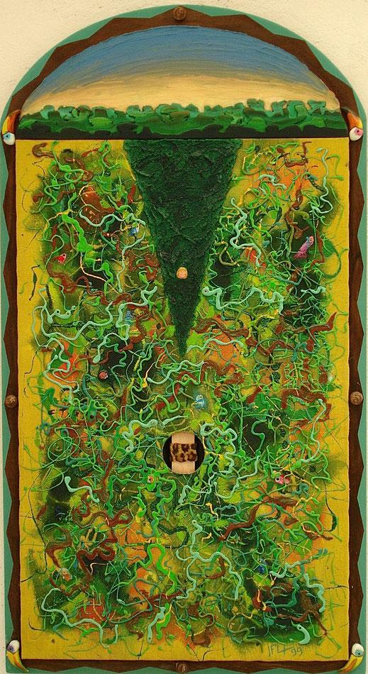 forêt, Tarzan, fauve, sauvage, Amazonie, indigène, primitif, peinture, art contemporain, tableau, Lesenfans