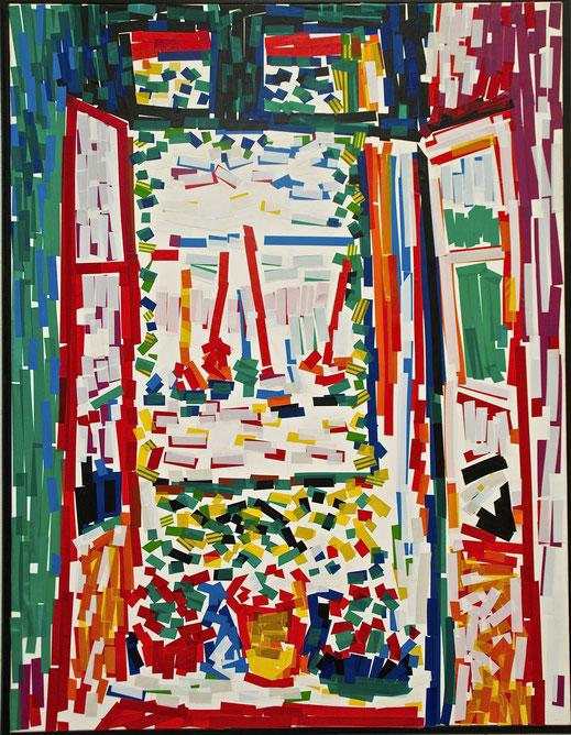 scotch, fenêtre, immeuble, appartement, art, peinture, Vlaminck