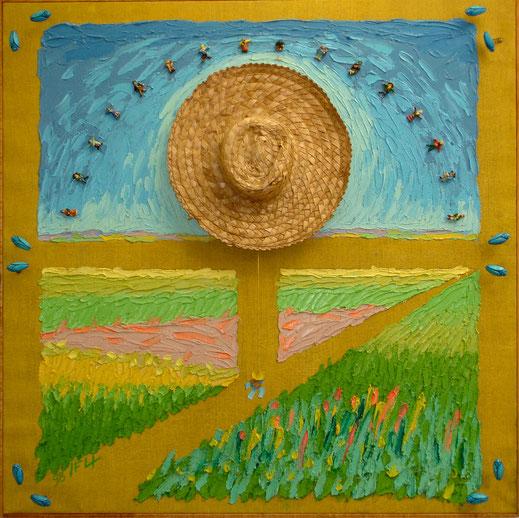 chapeau de paille, champs, berger, éleveur, prairie, culture, fleurs, insecte, tableau, peinture, art contemporain, Lesenfans