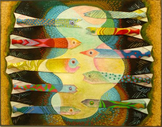 peinture, poisson, cravate, tableau, oeuvre, art contemporain, Lesenfans
