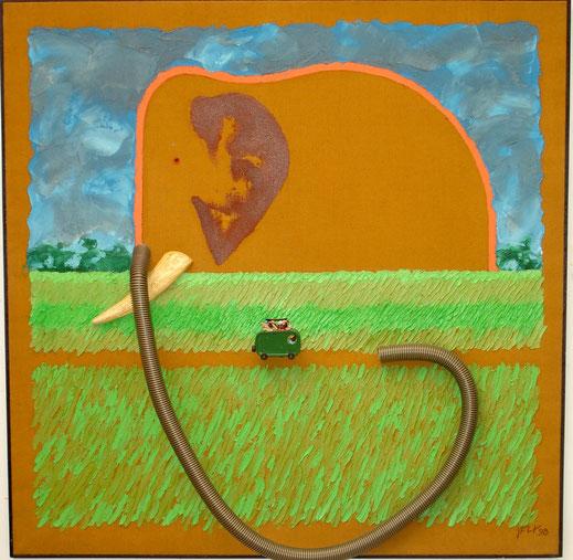 éléphant, Afrique, savane, prairie, trompe, van, tourisme, trompe, peinture, tableau, art, Lesenfans