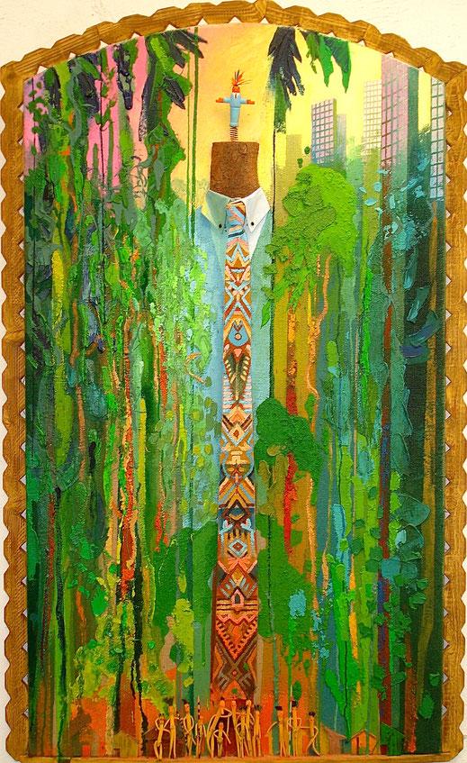 totem, tribu, case, village, indigènes, primitif, forêt, Amazonie, tropical, immeuble, peinture, art contemporain, tableau, Lesenfans