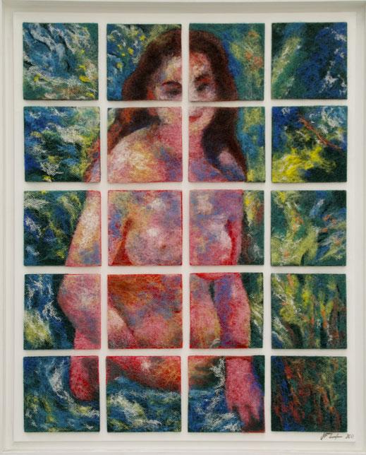 éponge, art, peinture, femme, nu, nudité, à poil, Monet