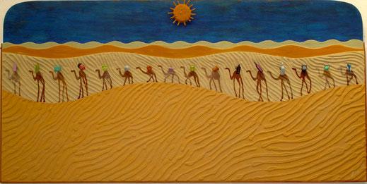 chameau, traversée du désert, soleil, chaleur, Afrique, dromadaire, Moïse, tableau, peinture, art contemporain, Lesenfans