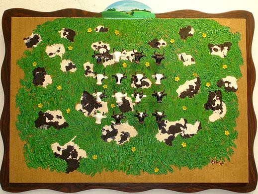 vache, tête, campagne, champs, prairie, bétail, fleurs, marguerite, peinture, tableau, art contemporain, Lesenfans