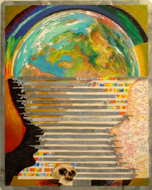 monde, drapeaux, tête de mort, peinture, tableau, oeuvre, art contemporain, Lesenfans