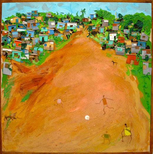foot, Afrique, ballon, enfants, cases, paysage, jeu, Lesenfans