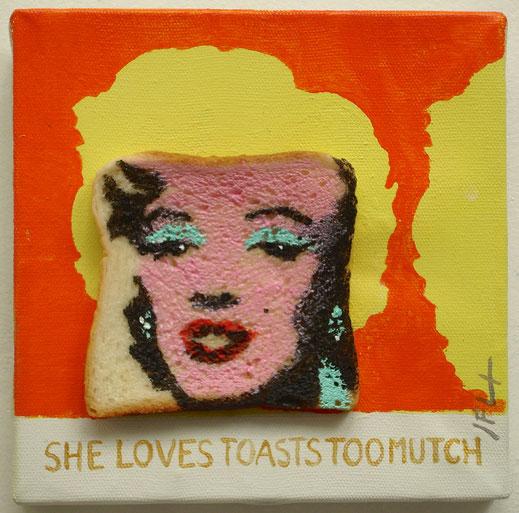 Toast, peinture, art, pain de mie, tranche
