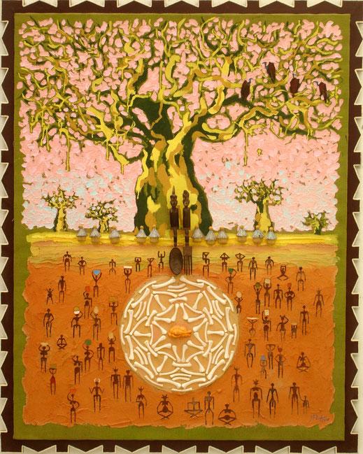 Afrique, arbre, tribu, os, poulet, kirikou, savane, baobab, peinture, art, thé ou café, Lesenfans