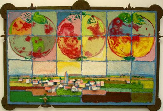 pomme, paysage, campagne, village, praire, peinture, tableau, art contemporain, Lesenfans