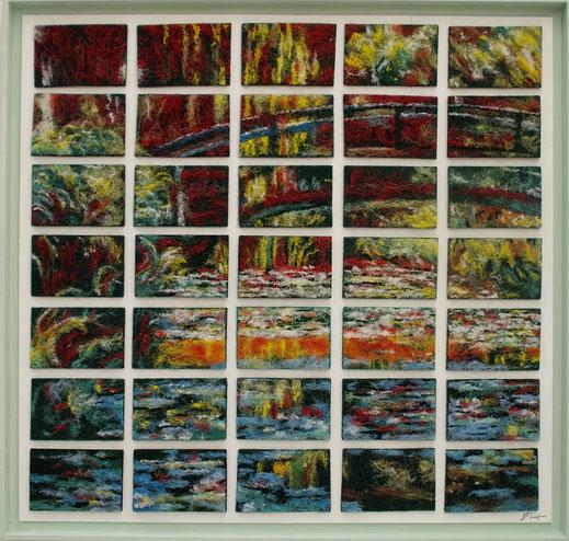 éponge, peinture, art, poussière, tampon, Monet, pont, nénuphars