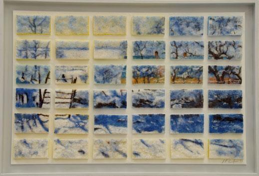 éponge, pie, neige, échelle, Monet
