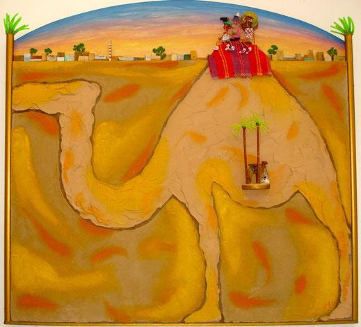 chameau, désert, Afrique, dromadaire, tourisme, tableau, peinture, art, contemporain, Lesenfans, oasis
