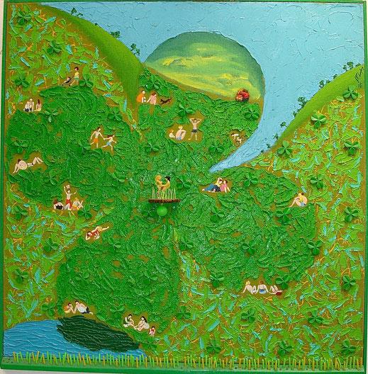 trèfle, sortie en famille, parc, promenade, buttes chaumont, nature, herbe, campagne, peinture, tableau, art contemporain, Lesenfans