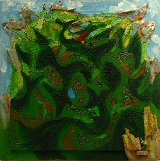 forêt, nature, montagne, verdure, peinture, art contemporain, tableau, Lesenfans