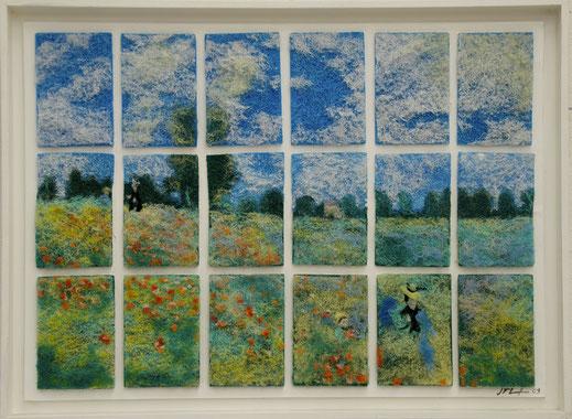 tampon, éponge, ménage, vaisselle, peinture, art, champs, coquelicot, Monet, fleurs, femme, chapeau, campagne