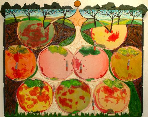 pomme, campagne, bergère, fermière, pompiers, peinture, art contemporain, Lesenfans, tableau