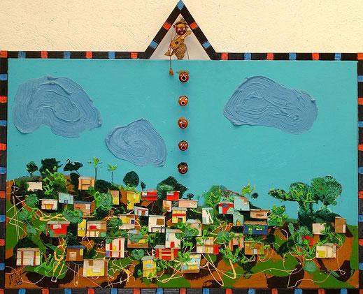 paysage, Afrique, tableau, art contemporain, peinture, Lesenfans, tête