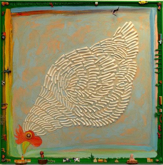 poule, os, village, campagne, tracteur, vache, coq, peinture, art contemporain, tableau, Lesenfans